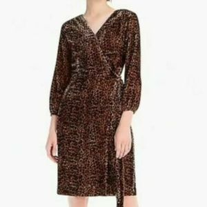 J.CREW WRAP DRESS Sz 4 DRAPEY VELVET BLUSH LEOPARD
